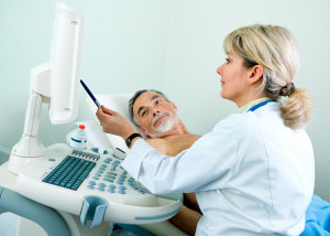 Patient getting carotid ultrasound scan